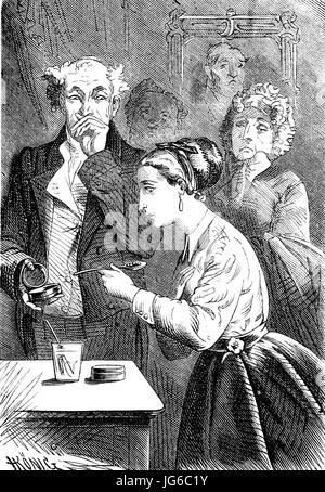Digital improved:, Medicine, taking medication, Taking pills under the supervision of the family, illustration from - Stock Photo