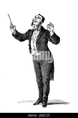 Digital improved:, Conductor, various movements in the conducting of an orchestra, illustration from the 19th century - Stock Photo