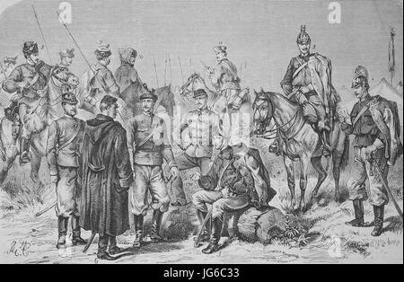 Digital improved:, The new uniform of the Austrian cavalry army, soldiers, army, Austria, illustration from the - Stock Photo