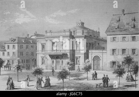 Digital improved:, the theater Imthurneum in the city of Schaffhausen, Switzerland, illustration from the 19th century - Stock Photo