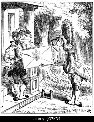 The Fish Footman and the Frog Footman from  Alice s Adventures in Wonderland  (1865) - Stock Photo