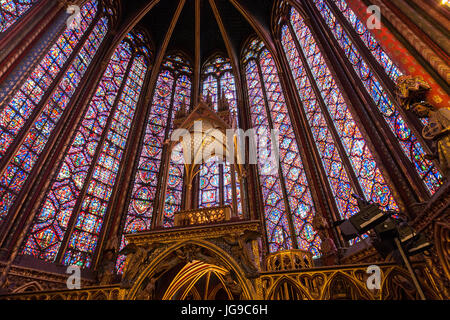 Stained Glass Interior of Sainte-Chapelle, Holy Chapel, royal chapel in the Gothic style,, Paris, France - Stock Photo