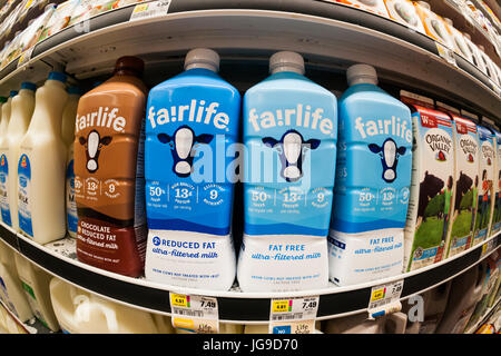 Containers of Coca-Cola's Fairlife premium 'supermilk' in a supermarket cooler in New York on Thursday, June 29, - Stock Photo