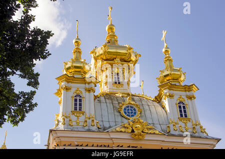 Peterhof Palace gilded  domes of the Peter and Paul Cathedral at the Grand Palace located near Saint Petersburg, - Stock Photo