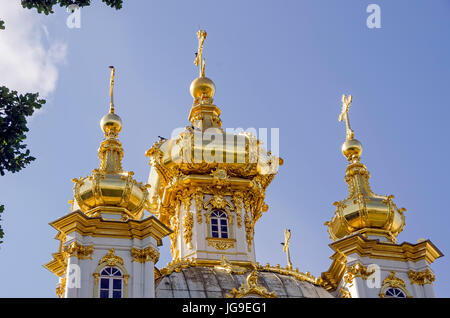 Peterhof Palace gilded  domes of Peter and Paul Cathedral at the Grand Palace near Saint Petersburg, Russia - Stock Photo