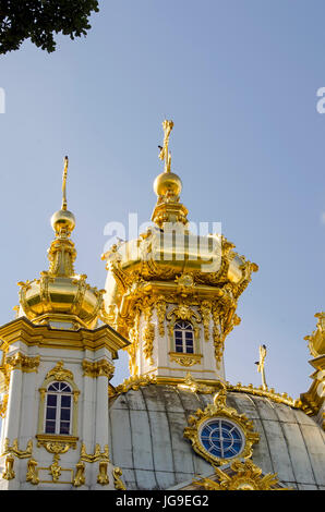 Peterhof Palace gilded  domes church of the Grand Palace located near Saint Petersburg, Russia - Stock Photo