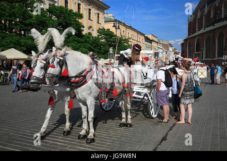 Europa, Polen, Krakau, Pferdekutsche am Rynek - Stock Photo