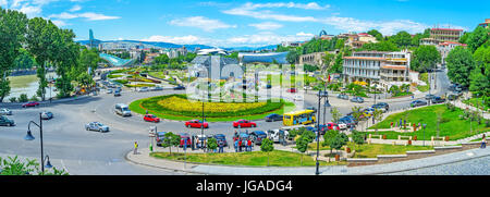 TBILISI, GEORGIA - JUNE 6, 2016: Panorama of the city center - the Square of Europe, neighboring with greenery of - Stock Photo
