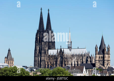 Town Hall, Cathedral, Church of St. Martin, Cologne, North Rhine-Westphalia, Germany - Stock Photo