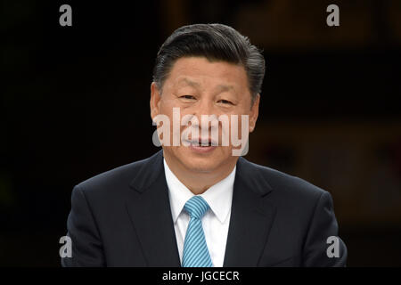 Berlin, Germany. 5th Jul, 2017. The Chinese President, Xi Jinping, speaks during the opening of the new panda bear - Stock Photo