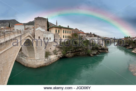 Eastern Europe, Mostar, Bosnia and Herzegovina.  Rainbow on river Neretva from Stari Most, in Mostar - Stock Photo