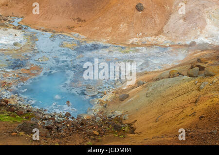 Hot spring at Seltun, geothermal field showing volcanic fumaroles, mud pots and hot springs, Reykjanes Peninsula, - Stock Photo