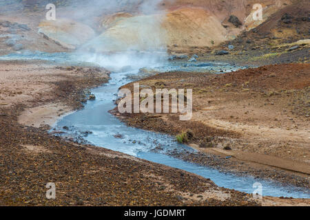 Seltun, geothermal field showing volcanic fumaroles, mud pots and hot springs, Reykjanes Peninsula, Iceland - Stock Photo