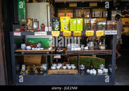 Chengdu, China - Aug 20, 2016. Tea shop at Jinli Ancient Street in Chengdu, Sichuan. Chengdu is the provincial capital - Stock Photo