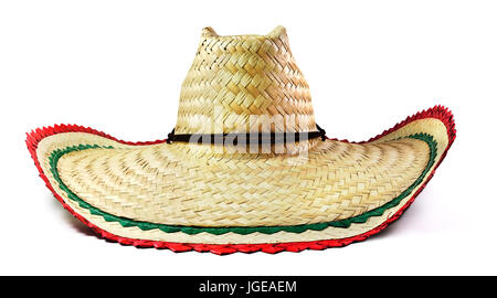 Mexican straw hat sombrero on a white background. - Stock Photo