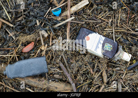 Debris and detritus left on Welsh beach following strong winds and severe weather conditions. UK. - Stock Photo