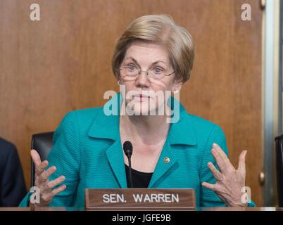 United States Senator Elizabeth Warren (Democrat of Massachusetts) attends a hearing of the US Senate Committee - Stock Photo
