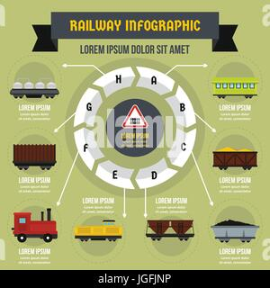 Railway infographic concept, flat style - Stock Photo