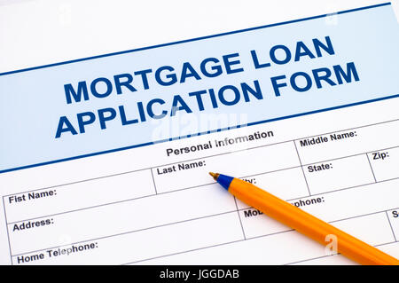 Mortgage Loan application form with ballpoint pen - Stock Photo