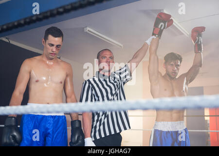 Referee holding hands of winning male boxer by athlete standing in boxing ring - Stock Photo