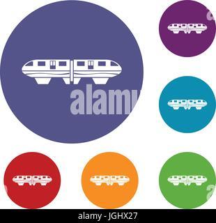 Monorail train icons set - Stock Photo