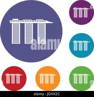Marina Bay Sands Hotel, Singapore icons set - Stock Photo