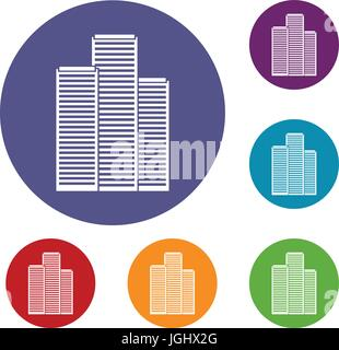 Skyscrapers in Singapore icons set - Stock Photo