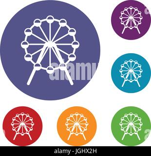 Singapore Flyer, tallest wheel in the world icons - Stock Photo