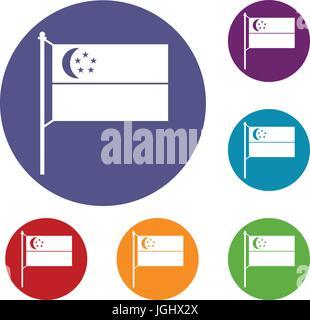 Flag of Singapore icons set - Stock Photo