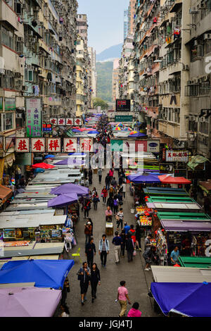 Hong Kong - Mar 29, 2017. The busy Fa Yuen street market in Hong Kong. The area is popular with tourists and locals - Stock Photo