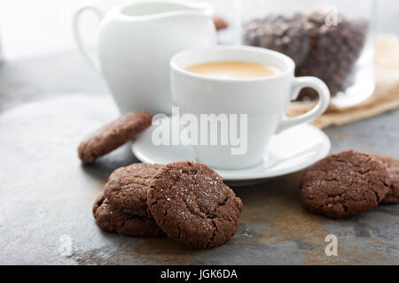 Chocolate cookies with a cup of coffee - Stock Photo