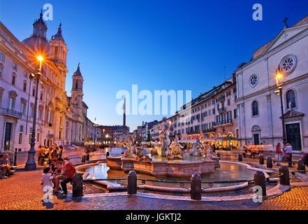 Fontana del Moro(Moor fountain), Piazza Navona, Rome, Italy - Stock Photo