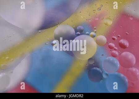 Oil and Water Macro Abstract with Various Colours.  All effects done in camera. - Stock Photo