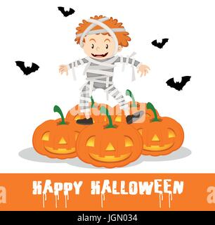 Happy Halloween poster with kid in mummy costume illustration - Stock Photo