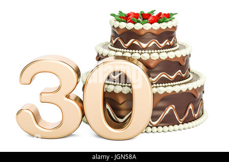 Chocolate Birthday cake with golden number 30, 3D rendering isolated on white background - Stock Photo