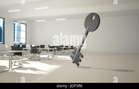 Conceptual background image of concrete key sign in modern office interior - Stock Photo