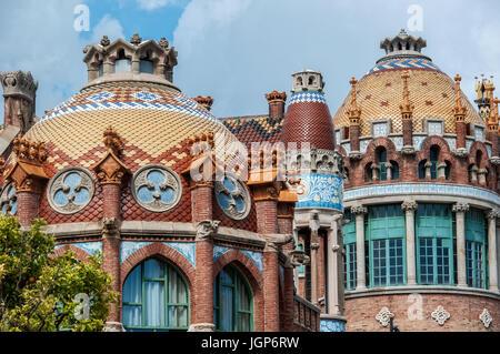 Details of the historic hospital complex Hospital de Sant Pau, Barcelona, Spain - Stock Photo