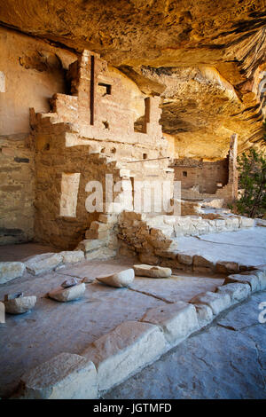 Balcony House sits high above the valley floor in Mesa Verde National Park, Colorado. - Stock Photo