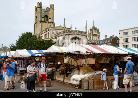 Cambridge General Market and Great St. Mary's Church, Market Square, Cambridge, Cambridgeshire, England, United - Stock Photo