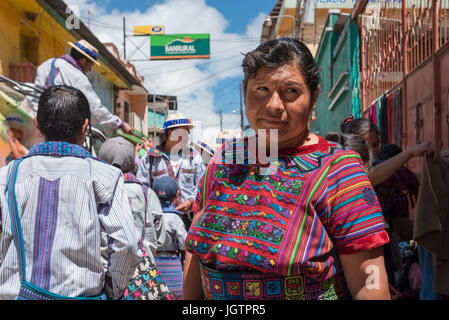 Street life in Todos Santos Cuchumatán, The town is one of few places in Guatemala where indigenous men still wear - Stock Photo