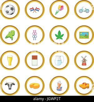 Netherland travel icons circle - Stock Photo