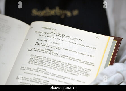 Vivien Leigh's 'Gone With The Wind' film script on display at Sotheby's in London as the family of the Gone With - Stock Photo
