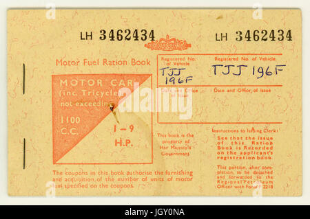 British Motor fuel ration book, for a motor car 1100 c.c.1973 - Stock Photo