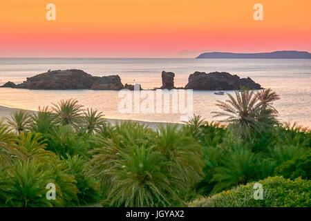 Dusk before sunrise at Vai Beach, Crete Island, Greece - Stock Photo