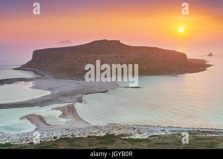 Sunset at Balos Beach, Crete Island, Greece - Stock Photo