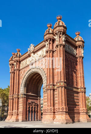 Barcelona Catalunya The Arc de Triomf de Barcelona Arco de Triunfo de Barcelona triumphal arch Barcelona arc de - Stock Photo