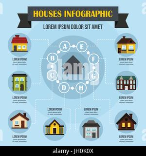 Houses infographic concept, flat style - Stock Photo
