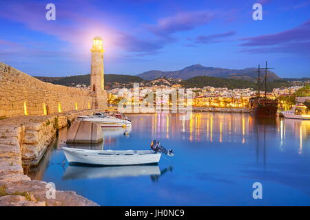 Crete Island - Lighthouse at Old Venetian Port, Rethymno, Greece - Stock Photo