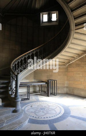 Stairs to the Tower of Justice. Basilica of Notre-Dame de Fourvire. Lyon. France. - Stock Photo