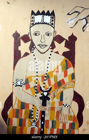Voodoo wall painting on a convent. Togoville, Togo. - Stock Photo